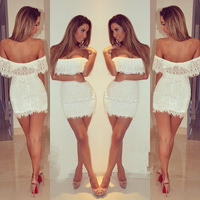 2014 New Arrival !! Women Summer Dress , Stylish Bodycon Lady Women White Lace Dress Slash Neck Cocktail Mini Dress