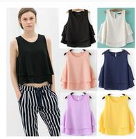 New 2015 Fashion Ladies Elegant Loose Double Layers Short Blouses O Neck Sleeveless Chiffon Shirt Casual Slim Girl's Brand Tops