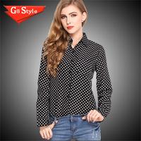 2015 Korean version of the retro wave point shirt chiffon shirt women's large size winter bottoming shirt long sleeve shirt