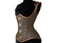 gothic style bustier & corsets ,Grand brown Steampunk Leather Clasp underbust  corset for women corselet tight lacing LC5323