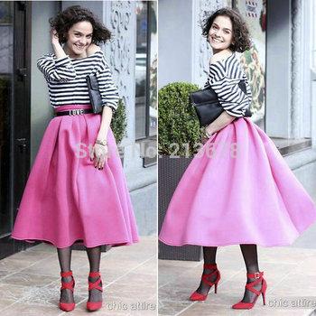 2015 новый женский розовый плиссированные высокая талия миди длинные слоеного юбки американский одежды фабрики сразу перепродажи