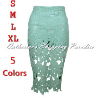 Free Shipping women's sexy Fashion hollow out mint lace crochet skirts with safety pants lining knee length midi skirts S M L XL