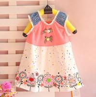 children short-sleeved dress  Girl dress  beautiful flowers Net Yarn princess dress  Direct selling
