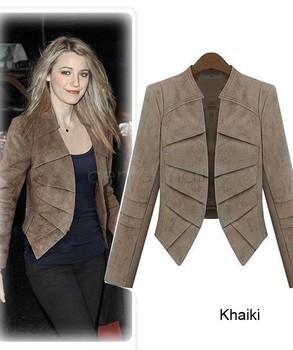 2014 Модный Spring Autumn Женщины's Замша Leather Jacket Повседневный Длинный ...