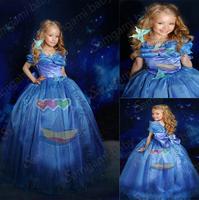 Retail, 2015 New children clothes Elsa & Anna Party Dress For Girl Princess Dresses vestidos de menina evening dress