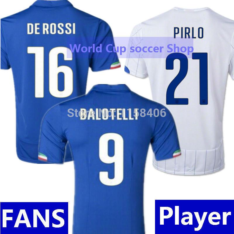 MARIO BALOTELLI Italy Jersey World Cup 2014 DE ROSSI PIRLO Italy Soccer Jerseys Italy Home Blue Away White Italia Football Shirt(China (Mainland))