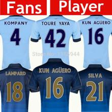 Soccer Jerseys Manchester City 14 15 NASRI KOMPANY SILVA KUN AGUERO TOURE YAYA Jersey Manchester City 2015 Home Away Blue Shirts(China (Mainland))