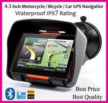 Best Shipping 4.3 inch Motorcycle GPS, waterproof ,4GB internal memroy,Bluetooth,maps(China (Mainland))