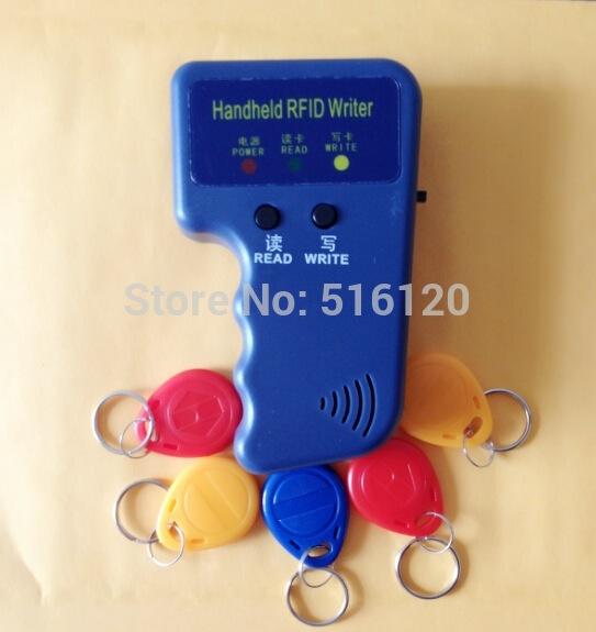 Handheld Portable 125khz Rfid Reader Writer Copier Duplicater+5 Pcs T5577/EM4305 125Khz Rfid Writable Keyfobs(China (Mainland))