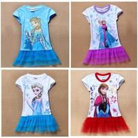 Girls Dress Elsa Anna Dress Princess New 2014 Cartoon Print Baby Girls Casual Dressess For 2-7 Years Party Baby & Kids
