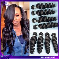HOT ! Ali moda hair 7A Brazilian virgin hair Loose wave 4pcs Unprocessed human hair weaves Brazilian loose wave Free shipping