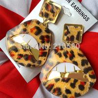 Fashion Jewelry Woman Dangle Earrings For Women Hip Hop Drop Earring Acryl Mirror Lip Gold/Leopard Print/Red Large 8cm