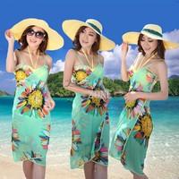 New Hot Sexy Swimwear Floral Print Chiffon Beach Dress Women Open-Back Wrap Front Cover Up One Piece Bikini Set SV001144#006