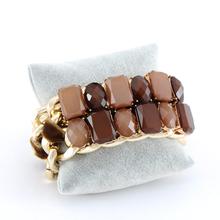 2014 Summer  Resin Fashion Bracelet & Bangle Statement Double Chain Charm Bracelet Women Punk Jewelry Classic wholesale 4 Color