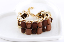 2014 Summer Resin Fashion Bracelet Bangle Statement Double Chain Charm Bracelet Women Punk Jewelry Classic wholesale