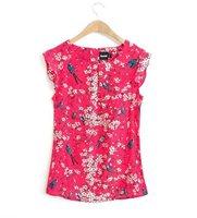 Roupas Femininas Woman Tops Birds Floral Blusa Summer Sleeveless Chiffon Blouse Blue Red Shirt For Women Blusas Femininas