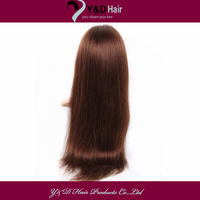 4# Medium Brown Front Lace Wigs Straight Silky Soft Hand tied Brazilian 100% Remy Real man Hair 14 16 18 20 22 24 26 28 30Inches