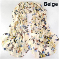 new fashion style butterfly Scarves women's scarf long shawl spring silk pashmina chiffon infinity scarf YN-168