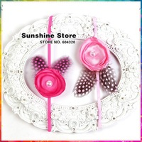 New 2015 Flower Spots Curly Baby Feathers Decoration Kids Children tiaras hair accessories hairband Toddler #2B2309 10pcs/lot
