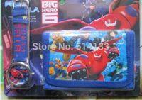 Free shipping 1pcs/lot retail Big Hero 6 cartoon wallet New kid watches and kids lovely children purse girl Wristwatch