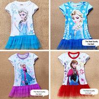 2014 New Girls Dress 2-7yrs Kids Summer Tee shirt Dress Anna & Elsa's Style Top Dresses 100%cotton Child Hot Sale In Stock