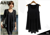 Women chiffon blouse black vest tank top t shirt Summer dress fashion blusas femininas 2014 casual women clothing E12