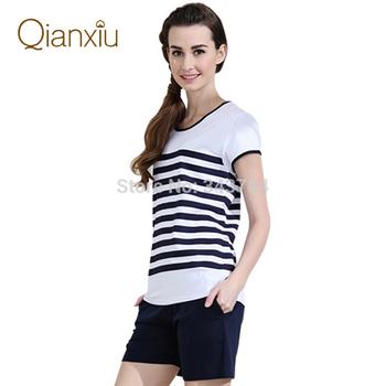 Qianxiu марка пижамы модальные с коротким рукавом пижамы комплект для женщин домашнее ...