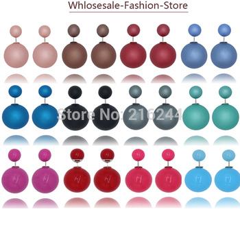 2015 новинка пункт горячая распродажа серьги двухстороннее блестящей жемчужиной ( 16 мм ) серьги стержня большой жемчужные серьги для женщин