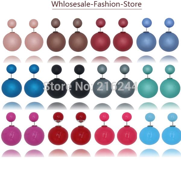 2015 New Fashion Paragraph Hot Selling Earrings Double Side Shining Pearl 16mm Stud Earrings Big Pearl