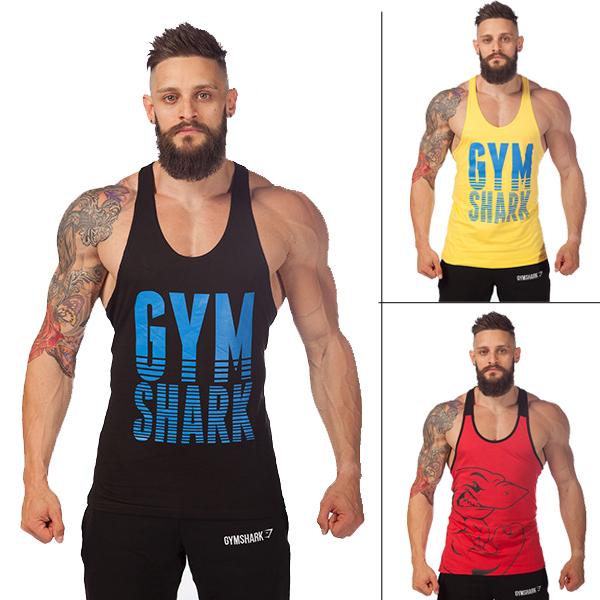 New 2014 fashion cotton gymshark sleeveless shirts tank top men Fitness shirt mens singlet sport Bodybuilding Plus size gym vest(China (Mainland))