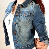 Woman Spring 2014 New Hot Fashion jeans jacket Women Ladies's Jean Denim Jacket Outwear Long Sleeve Biker Short Coat.