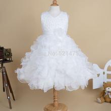 Alta qualidade nova flor menina da dama de honra Pageant Princess Dress para meninas Glitz rosa branco para casamentos aniversário 2-10 anos(China (Mainland))