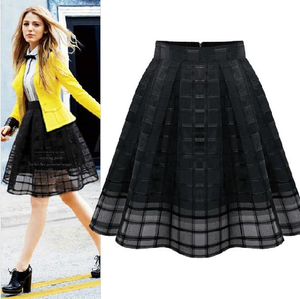2014 New Fashion Women Elastic High Waist Solid Zipper Chiffon Slim Skirt OL Ladies Organza Pleated Skirt Plus Size Summer(China (Mainland))