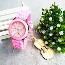 2015 fashion Geneva Silicone quartz watch women Jelly Sport wristwatch Woman dress brand watches 12colors casual