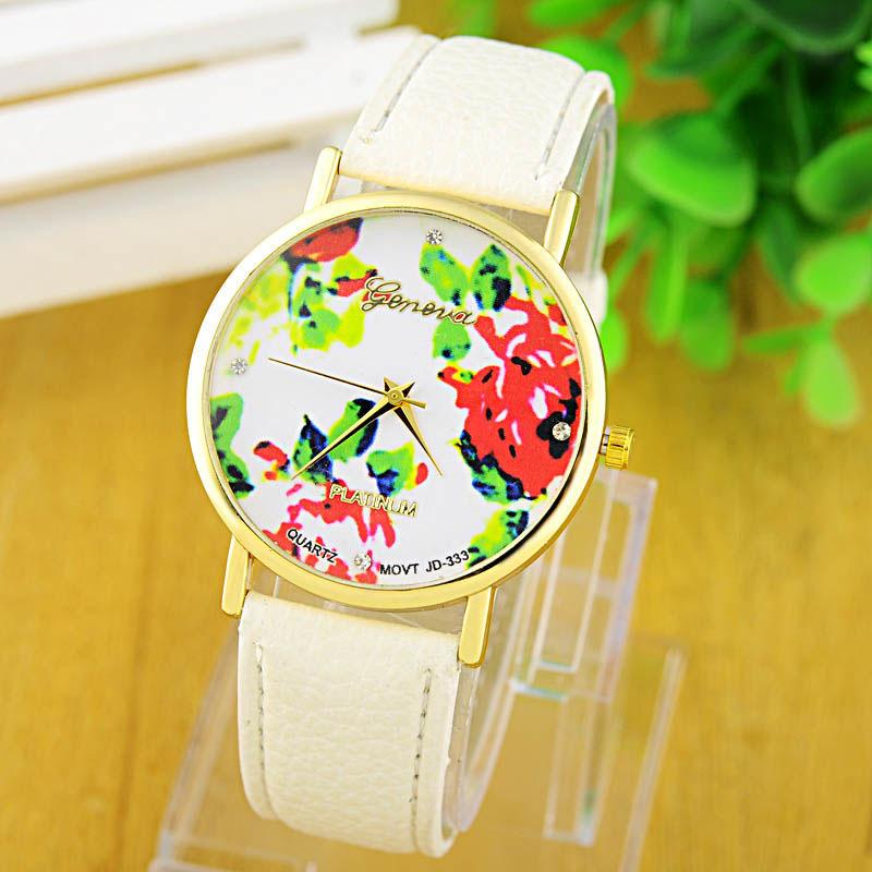 2015 New Fashion GENEVA Rose Flower Watches Women Dress Watch stylish women casual watch Quartz Watches orologio da polso(China (Mainland))
