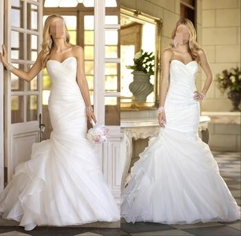 Wv276 в наличии новый Fation реальные фото бесплатная доставка свадебное платье сшитое из органзы простой элегантный русалка свадебное платье 2014