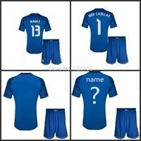 14-15 Top Thailand Real madrid goalkeeper Blue Soccer Jersey Full Set,2015 Real Madrid football uniforms IKER CASILLAS NAVAS