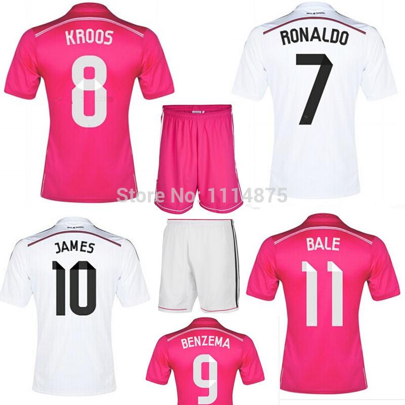 High quality kits 14 15 Real Madrid soccer jerseys KROOS RONALDO BALE JAMES home football shirt+shorts away uniforms set+logos(China (Mainland))