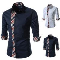 Men's Casual Shirts Fashion 2014 Autumn Mens Leisure Long Sleeve Plaid Male Design Shirt Men Clothing Tops Camisa Masculina T298