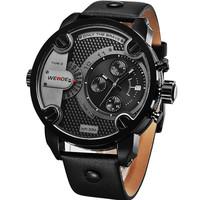 WEIDE WH3301B Men Sports Watches Military Quartz Luxury Fashion Brand Leather Strap Watch Waterproofed Oversize Wristwatch