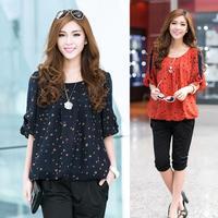 2014 Summer Female Plus Size Loose Half Sleeve Polka Dot Chiffon Shirt Women O-Neck Chiffon Tops Blouses