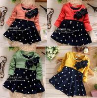 2014 Spring New design baby girls long sleeves dress flower princess dress polka dots dress S-M-L-XL