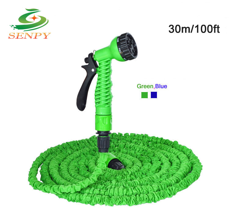 Magic Hose,100FT Hose with gun WATER GARDEN Pipe Green Water valve+ spray Gun With EU or US connector seen on TV(China (Mainland))