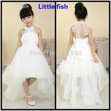Trasporto libero fiore ragazza abiti per matrimoni elegante abito trailing avorio e bianco puro 2 colore può essere sceglie  (China (Mainland))