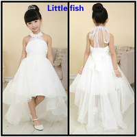 Free shipping Flower girl dresses for weddings Elegant trailing gown  Ivory and pure white 2 color can be choose
