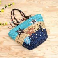 2014 Summer New Arrival Starry Straw Bag Women Woven Handbag Lady Beach Bag Starfish Pattern Shoulder Bag