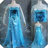 Frozen Elsa Dress Costume Vestido Frozen Princess Elsa Dresses Christmas Custom-made Party Cosplay Adult Women Support custom
