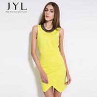 New 2014 JYL FASHION design yellow high waist sleeveless fitted sexy dress woman,irregular hem women summer dress desigual women