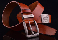 Free shipping designer fashion cowskin genuine  famous brand 100% Genuine leather men belts for men