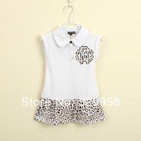 2014 new Summer baby girl's print dress luxury brand children leopard dresses, high quality Kids patchwork girls dress, 2-10Y